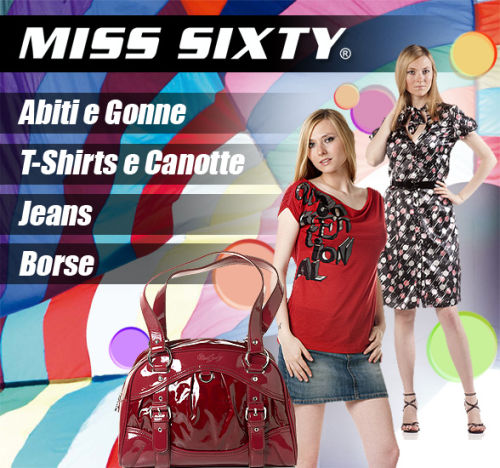 Saldi privati MISS SIXTY: abiti, jeans, canotte, borse e T-Shirt scontati.