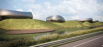 Rendering della struttura finale di Perle di Faenza Lifestyle Village. Apertura a settembre 2012.